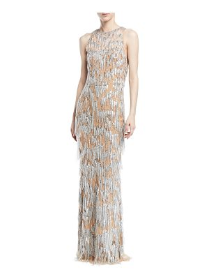 ZUHAIR MURAD Sleeveless Fringe Beaded Straight Evening Gown