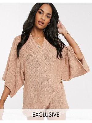 Zulu & Zephyr exclusive knitted wrap over beach romper in rust-beige