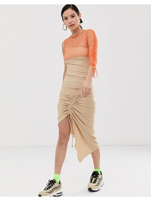 ZYA ruched midi dress with asymmetric mesh layered top-beige
