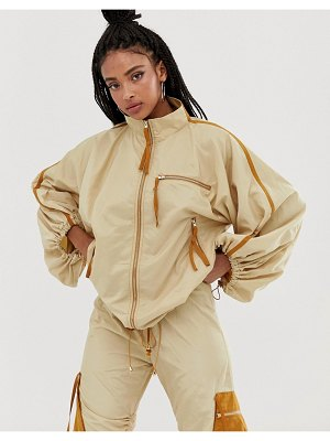 ZYA track jacket with drawstring sleeves two-piece-beige