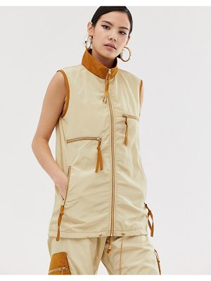 ZYA utility tank jacket with contrast collar