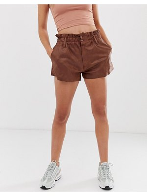 ZYA washed pu high waist shorts